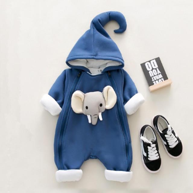 babyGAP(ベビーギャップ)のゾウさん ロンパース  アウター 6-9months キッズ/ベビー/マタニティのベビー服(~85cm)(カバーオール)の商品写真
