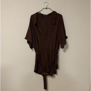 ベルト付きシャツ ブラウン(シャツ/ブラウス(半袖/袖なし))