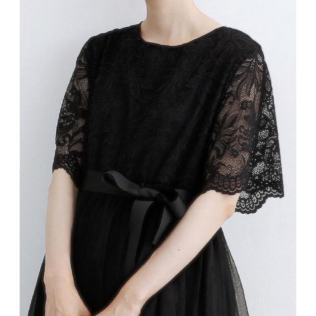merlot(メルロー)の結婚式 お呼ばれ 花柄レース ウエストリボンベルト チュール ドレス レディースのフォーマル/ドレス(ミディアムドレス)の商品写真