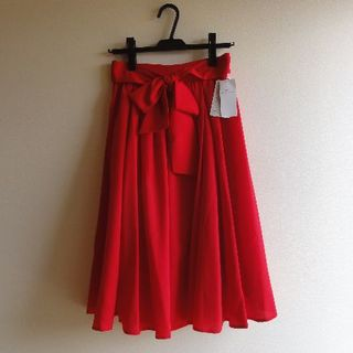 Mew's - 【新品タグ付き】ナインカラーベーシックミモレ丈スカート赤 MEW'S