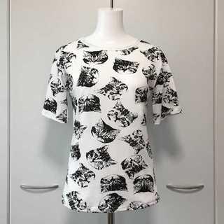 にゃんこまみれのモノクロ★猫柄プリントTシャツ Lサイズ【新品】