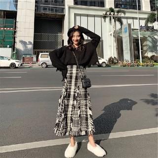 スタイルナンダ(STYLENANDA)のセーター セットアップ スカート 秋冬 ツイード 学生OL 韓国ファッション(セット/コーデ)
