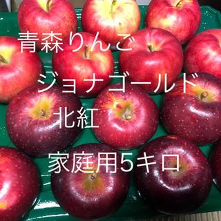 青森りんご ジョナゴールド&北紅キズ  家庭用りんご 5キロ送料込(フルーツ)