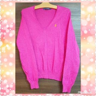 Ralph Lauren - ピンク Vネック ラルフローレン コットンセーター  ピンク セーター