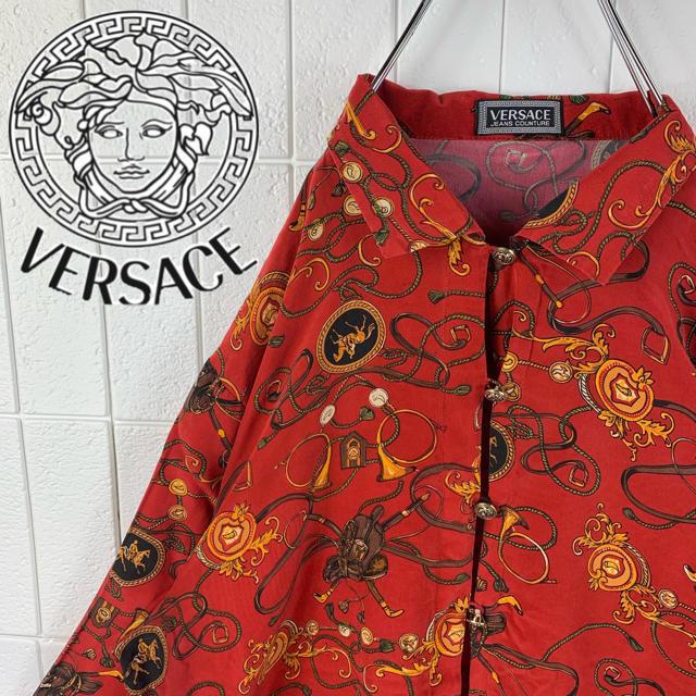 VERSACE(ヴェルサーチ)のヴェルサーチ レアカラー ゆるだぼ 90s 正規品 鎖柄 総柄 長袖 シャツ メンズのトップス(シャツ)の商品写真
