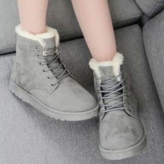 ムートン【グレー23.0cm】編み上げ ショート ブーツ 新品★送料無料(ブーツ)
