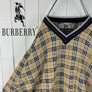 BURBERRY - バーバリー レアカラー ゆるだぼ 90s ノバチェック Vネック ナイロン 人気