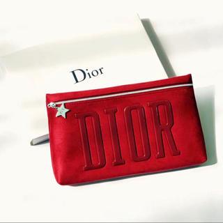 ディオール(Dior)のディオール クラッチバッグ  ポーチ レッド  箱付き(クラッチバッグ)