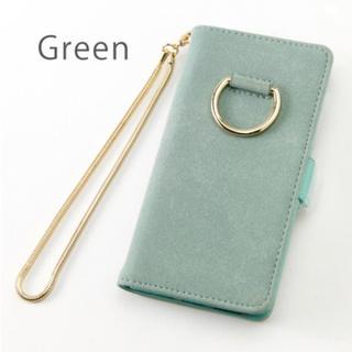 iPhone6/6s/7/8 リング付き手帳型ケース グリーン