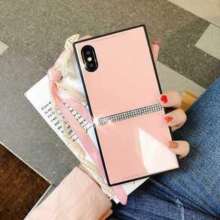 スクエア iPhoneXS iPhoneX ケース 背面ガラス カバー ピンク