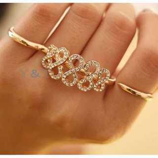 ラインストーン ミディリング 8字型 関節リング 指輪 アクセサリー ゴールド(リング(指輪))
