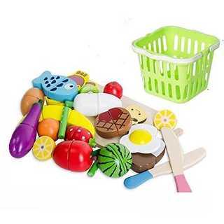 Toudorp 22点セット 木製 おままごと 磁石式 食材 果物 食べ物 切る(知育玩具)