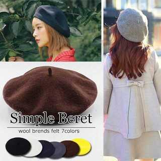 ベレー帽 フリーサイズ フェルト 無地 帽子 シンプル キャップ(ブラウン)(ハンチング/ベレー帽)