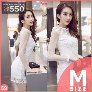 キャバドレス 59W 白 ボディコン ミニ ドレス シースルー 長袖 S-M-L(ミニドレス)