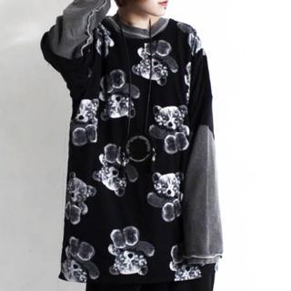 くま総柄Tシャツ BLACK ファンフル