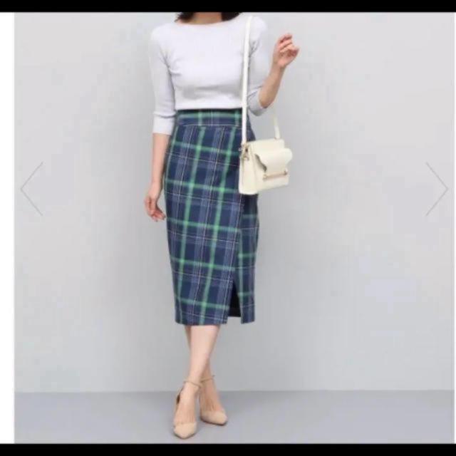 ROPE(ロペ)の一度のみ着用美品   rope チェックハイウエストタイトスカート レディースのスカート(ひざ丈スカート)の商品写真