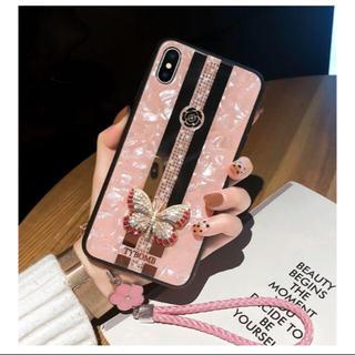 ラインストーン シェル柄iPhones xsケース ピンク