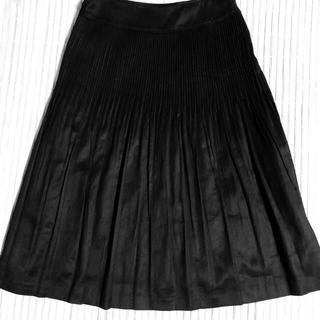 ニジュウサンク(23区)の美品23区プリーツフレアスカート黒36(ひざ丈スカート)