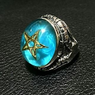 リング 指輪  スター 五芒星 ステンレス  青19号(リング(指輪))