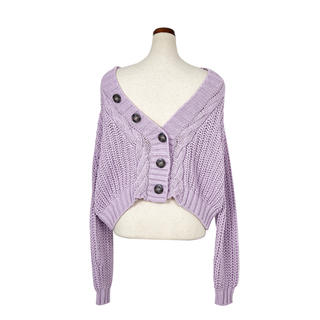 Cropped Knit Cardigan ラベンダー