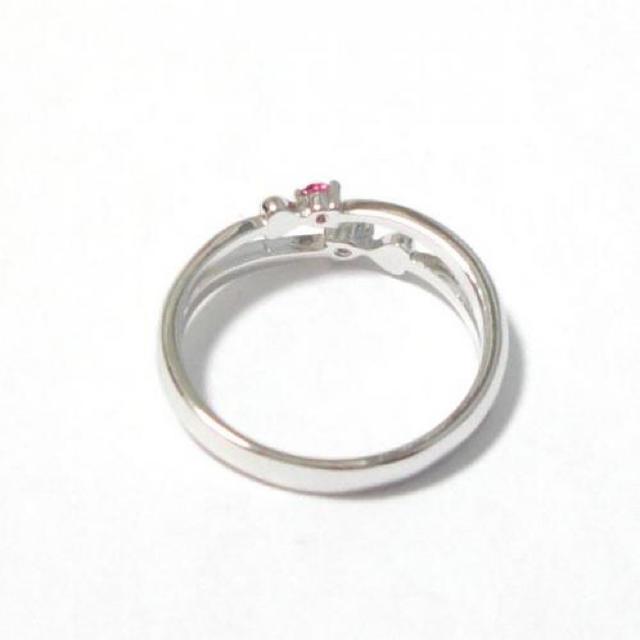5号 ピンキー スワロフスキー ダブルハート ライトローズ シルバーリング レディースのアクセサリー(リング(指輪))の商品写真