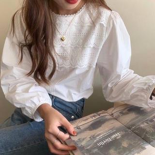 ZARA - ☆限定入荷☆【新商品❤︎】 バルーンスリーブレースブラウス Mサイズ