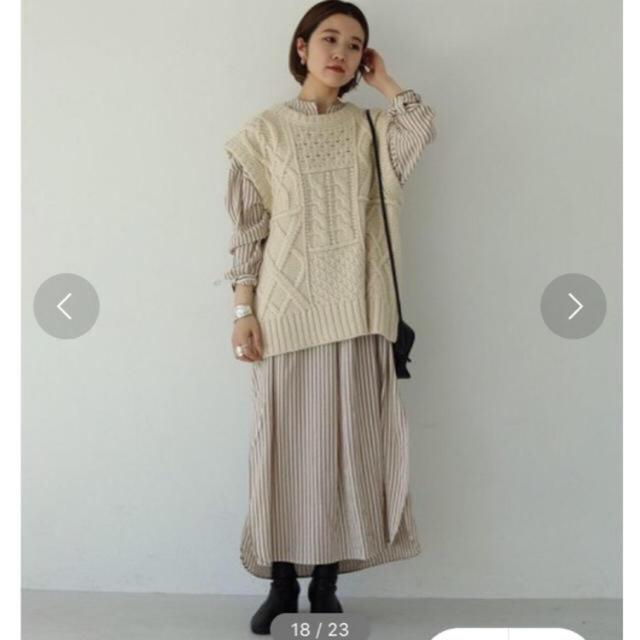 TODAYFUL(トゥデイフル)の新品 TODAYFUL Stripe Shirts Dress ベージュ 36 レディースのワンピース(ロングワンピース/マキシワンピース)の商品写真