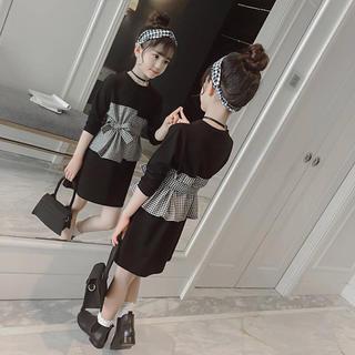 KWBA014春秋子供服キッズリボン付きチェック柄綿ワンピース(110-160)(ワンピース)