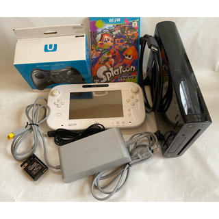 Wii U - Wii U 本体 ブラック コントローラー 白 スプラ プロコン付属 ジャンク