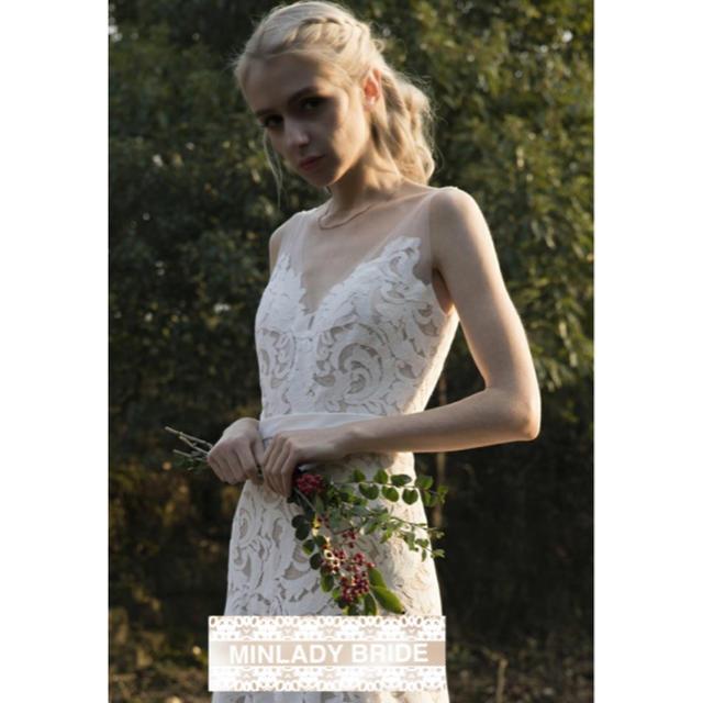 【新品】ノースリーブ ガーデンウェディング ドレス#ma083 レディースのフォーマル/ドレス(ウェディングドレス)の商品写真