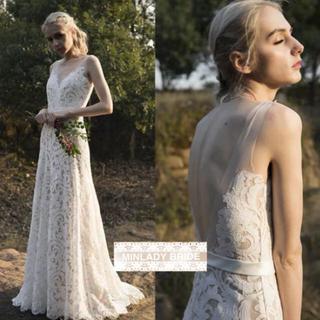 【新品】ノースリーブ ガーデンウェディング ドレス#ma083