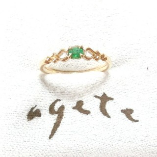アガット(agete)のアガット エメラルドのK10ピンキーリング 3号(リング(指輪))