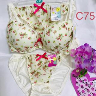 【送料込み】C75 M M  お得な3点セット ブラジャーとショーツ 白の花柄(ブラ&ショーツセット)