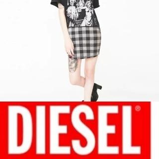 ディーゼル(DIESEL)のDIESEL  ミニスカート  グレーチェック  新品 未使用 タグ付き(ミニスカート)