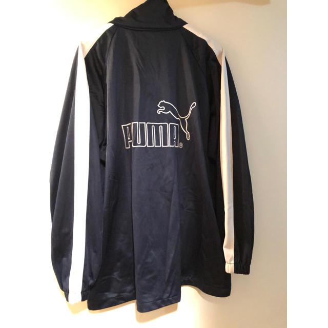 PUMA(プーマ)のプーマ PUMA トラック ネイビーホワイト サイドライン デカロゴ刺繍美品 メンズのジャケット/アウター(ナイロンジャケット)の商品写真