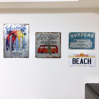 ロンハーマン(Ron Herman)の西海岸 サーフ ハワイアン雑貨 ブリキ看板(インテリア雑貨)