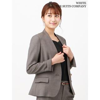スーツカンパニー(THE SUIT COMPANY)のホワイト ザスーツカンパニー ノーカラージャケット ブラウン36(ノーカラージャケット)