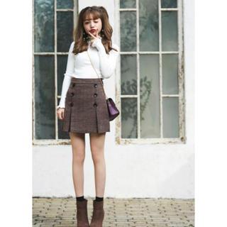 GRL - グレンチェックダブルボタンスカート ブラウン Sサイズ