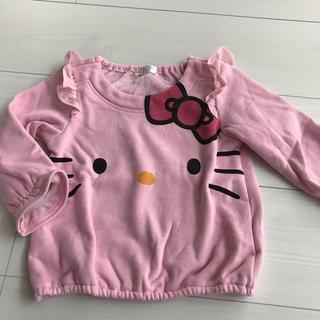 ハローキティ(ハローキティ)の美品 キティ 裏起毛トレーナー 90 ピンク(Tシャツ/カットソー)