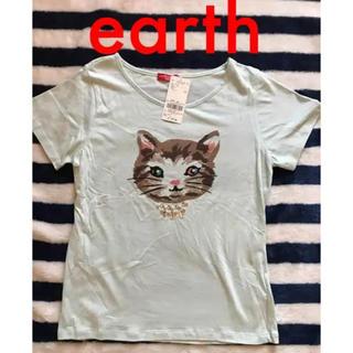 アースミュージックアンドエコロジー(earth music & ecology)の【新品】アースミュージック&エコロジー Tシャツ 猫 ビジュー(Tシャツ(半袖/袖なし))