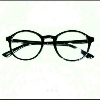 丸眼鏡 デザイン 伊達メガネ 新品 送料無料 ブラック 黒縁 UVレンズ 付き