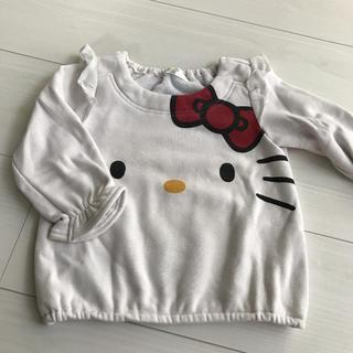 ハローキティ(ハローキティ)のキティ 裏起毛 トレーナー 90 白(Tシャツ/カットソー)