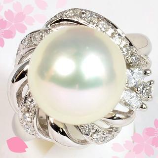 PT900南洋白蝶真珠11.9mm/ダイヤモンドリング PM007(リング(指輪))