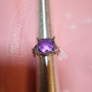 豪華で素敵な天然アメジスト3.5ctダイヤモンドリングプラチナ加工ですよ!!(リング(指輪))