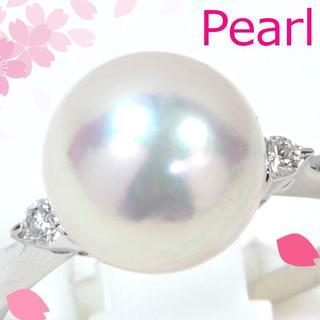 Pt900あこや真珠約9mmダイヤモンド0.07ctリング PM014(リング(指輪))