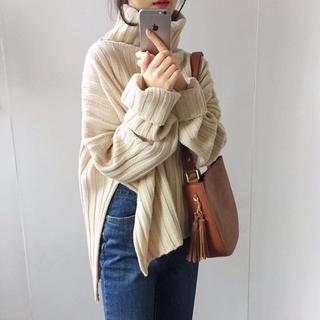 ☆新作入荷☆可愛い♡ボリューム タートルネック リブニット セーター(ニット/セーター)