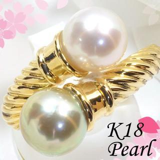 K18あこや真珠リング 約7mm 6月誕生石 PM019(リング(指輪))