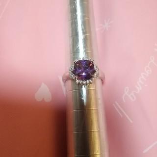 豪華で素敵な天然アメジスト2.5ctダイヤモンド19連リングプラチナ加工ですよ!(リング(指輪))
