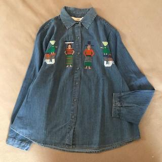 merlot - SALE!【Fillil/フィリル】エスニックピープル刺繍★デニムシャツ