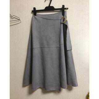 トゥエルブアジェンダ(12Twelve Agenda)のスエード風ウエストベルトデザインマキシフレアスカートSサイズ 水色ダスティブルー(ロングスカート)